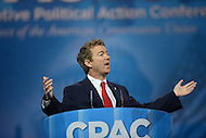March 14, 2013  (National Harbor, MD)  U.S. Senator Rand Paul (R-KY) speaks to attendees of the 2013 Conservative Political Action Conference (CPAC).  (Photo by Don Baxter/Media Images International)