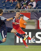 Toronto FC defender Mikael Yourassowsky (19) passes the ball. In a Major League Soccer (MLS) match, the New England Revolution tied Toronto FC, 0-0, at Gillette Stadium on June 15, 2011.