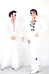 Maurice Sheps (left) and Steven Gillis, both Elvis tribute artists, poses for portraits outside of the Masters Inn in Tampa February 14, 2010. They are competing in the Elvis Extravaganza Nationals contest at the Florida State Fair.