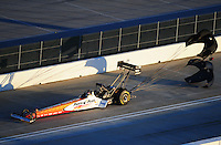Jan. 20, 2012; Jupiter, FL, USA: Aerial view of NHRA top fuel dragster driver Clay Millican during testing at the PRO Winter Warmup at Palm Beach International Raceway. Mandatory Credit: Mark J. Rebilas-