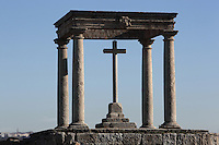 Los Cuatro Postes (The Four Posts), 16th century, Avila, Castile and Leon, Spain. This simple shrine, a cross covered by a canopy supported by 4 Doric columns, marks the place where St Theresa's uncle prevented her and her brother from seeking martyrdom in battle with the Moors. Picture by Manuel Cohen