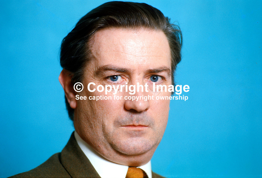 Justin Keating, TD, Fine Gael, Minister for Industry &amp; Commerce, Rep of Ireland, 197503000192JK1.<br /> <br /> Copyright Image from Victor Patterson, 54 Dorchester Park, <br /> Belfast, UK, BT9 6RJ<br /> <br /> t1: +44 28 9066 1296 (from Rep of Ireland 048 9066 1296)<br /> t2: +44 28 9002 2446 (from Rep of Ireland 048 9002 2446)<br /> m: +44 7802 353836<br /> <br /> e1: victorpatterson@me.com<br /> e2: victorpatterson@gmail.com<br /> <br /> www.victorpatterson.com<br /> <br /> Please see my Terms and Conditions of Use at www.victorpatterson.com. It is IMPORTANT that you familiarise yourself with them.<br /> <br /> Images used on the Internet must be visibly watermarked i.e. &copy; Victor Patterson within the body of the image and copyright metadata must not be deleted. Images used on the Internet have a size restriction of 4kbs and will be chargeable at current NUJ rates unless agreed otherwise.<br /> <br /> This image is only available for the use of the download recipient i.e. television station, newspaper, magazine, book publisher, etc, and must not be passed on to any third party. It is also downloaded on condition that each and every usage is notified within 7 days to victorpatterson@me.com<br /> <br /> The right of Victor Patterson to be identified as the author is asserted in accordance with The Copyright Designs And Patents Act (1988).