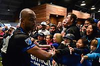 San Jose, CA - Saturday May 06, 2017: Fans, Victor Bernardez after a Major League Soccer (MLS) match between the San Jose Earthquakes and the Portland Timbers at Avaya Stadium.
