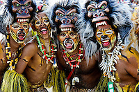 Colombian men, wearing gorilla mask, perform a tribal dance during the Carnival in Barranquilla, Colombia, 27 February 2006. The Carnival of Barranquilla is a unique festivity which takes place every year during February or March on the Caribbean coast of Colombia. A colourful mixture of the ancient African tribal dances and the Spanish music influence - cumbia, porro, mapale, puya, congo among others - hit for five days nearly all central streets of Barranquilla. Those traditions kept for centuries by Black African slaves have had the great impact on Colombian culture and Colombian society. In November 2003 the Carnival of Barranquilla was proclaimed as the Masterpiece of the Oral and Intangible Heritage of Humanity by UNESCO.