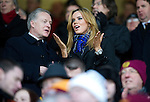 Motherwell v St Johnstone...28.01.12  .Maria Fowler girlfriend of Lee Croft pictured with St Johnstone Director Gary Whyte.Picture by Graeme Hart..Copyright Perthshire Picture Agency.Tel: 01738 623350  Mobile: 07990 594431