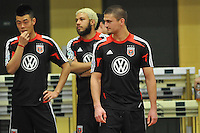 D.C. United defender Perry Kitchen right with forward Long Tan left during the pre-season fitness training session at George Manson University before departing for Bradenton Florida to get ready for the 2013 season, Friday January 18, 2013.