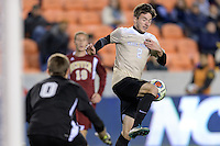 Houston, TX -  Friday, December 9, 2016: Luis Argudo (2) of the Wake Forest Demon Deacons gains control of the ball in front of the Denver Pioneers goal in the second half of the  NCAA Men's Soccer Semifinals at BBVA Compass Stadium.