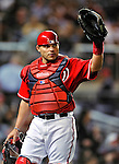 23 April 2010: Washington Nationals' catcher Ivan Rodriguez in action against the Los Angeles Dodgers at Nationals Park in Washington, DC. The Nationals defeated the Dodgers 5-1 in the first game of their 3-game series. Mandatory Credit: Ed Wolfstein Photo