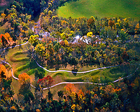 Autumn Aerial View of Serpent Mound, Hopewell/Adena Culture Mounds along Brush Creek, Serpent Mound State Memorial, Ohio