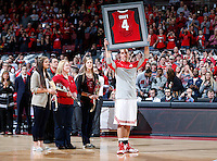 Ohio State Buckeyes guard Aaron Craft (4) holds up his jersey for the crowd during senior day ceremonies before the NCAA men's basketball game between the Ohio State Buckeyes and the Michigan State Spartans at Value City Arena in Columbus, Ohio, Sunday afternoon, March 9, 2014. The Ohio State Buckeyes defeated the Michigan State Spartans 69 - 67. (The Columbus Dispatch / Eamon Queeney)
