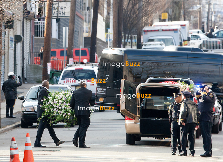 NEWARK, NJ - FEBRUARY 18 :  Family members and guests attend the Whitney Houston's funerals at 'The New Hope Baptist Church' on February 18, 2012 in Newark, New Jersey. Whitney Houston was found dead in her hotel room at The Beverly Hilton hotel on February 11, 2012. ..................