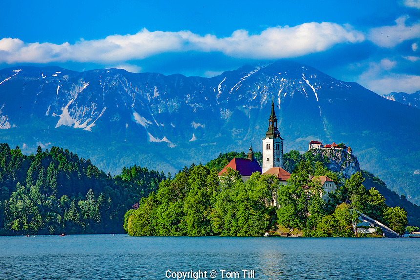 Island and church on Lake Bled, Julian Alps, Slovenia, One of Europe's most beautiful alpine resorts