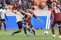 Houston, TX - Friday December 9, 2016: Jacori Hayes (8) of the Wake Forest Demon Deacons and Sam Hamilton of the Denver Pioneers battle for control of the ball at the NCAA Men's Soccer Semifinals at BBVA Compass Stadium in Houston Texas.