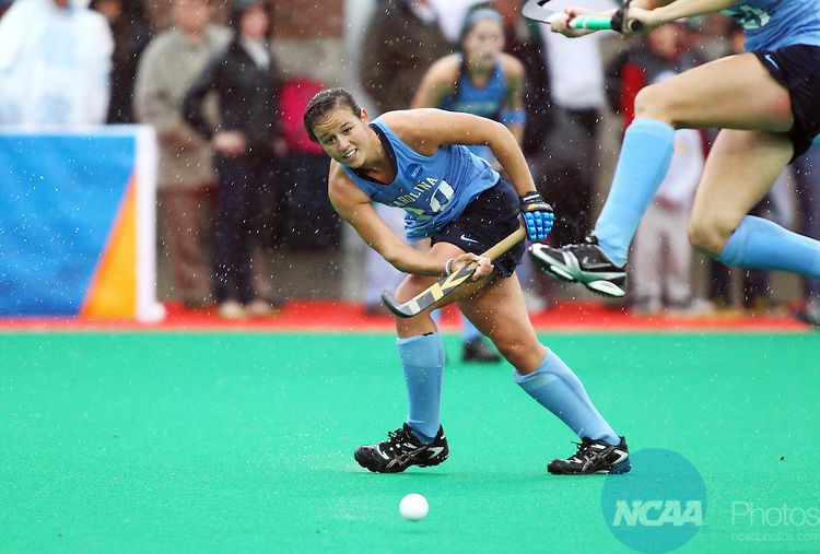 20 NOV 2011:  Caitlin Van Sickle (20) of the University of North Carolina passes the ball to a teammate against the University of Maryland during the Division I Women's Field Hockey Championship between Maryland and North Carolina was held at Trager Stadium on the University of Louisville campus in Louisville, KY. Maryland defeated North Carolina 3-2 in overtime to win the national title. Jonathan Palmer/ NCAA Photos