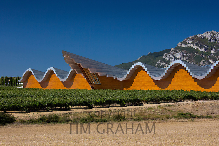 Ysios Bodega winery futuristic architecture at Laguardia in Rioja-Alaveda wine-producing area of Basque country, Spain