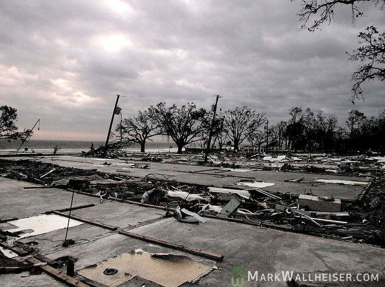 Foundations are all that is left of the approx 150 units of the Sadler Apartments and St Charles Condominiums in Biloxi, Mississippi after Hurricane Katrina obliterated them along the Biloxi waterfront August 29, 2005. Early reports  puths the death toll at 40 along the Mississippi Gulf coast, 30 at this location alone.