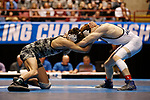 LA CROSSE, WI - MARCH 11: Lucas Malmberg of Messiah and Zachary Beckner of Ferrum tangle up in the 125 weight class during the NCAA Division III Men's Wrestling Championship held at the La Crosse Center on March 11, 2017 in La Crosse, Wisconsin. Malmberg beat Beckner 5-1 to win the National Championship. (Photo by Carlos Gonzalez/NCAA Photos via Getty Images)