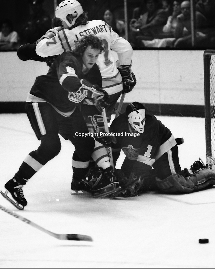 Seals vs Los Angeles Kings goalie Gary Edwards , Seals John Stewart. (1975 photo/Ron Riesterer)