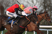 Race winner Kahsabelle ridden by Aidan Coleman (L) in action during the PointToPoint.co.uk Hunters Chase - Horse Racing at Huntingdon Racecourse, Cambridgeshire - 23/02/12- MANDATORY CREDIT: Gavin Ellis/TGSPHOTO - Self billing applies where appropriate - 0845 094 6026 - contact@tgsphoto.co.uk - NO UNPAID USE.