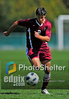 18 September 2011: Harvard University Crimson Forward Michael Innocenzi, a Freshman from Franklin Lakes, NJ, in action against the University of Vermont Catamounts at Centennial Field in Burlington, Vermont. The Catamounts shut out the visiting Crimson 1-0, earning their 3rd straight victory of the 2011 season. Mandatory Credit: Ed Wolfstein Photo