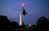 Marine One, with United States President Barack Obama and First Lady Michelle Obama aboard, departs for New York from the South Lawn of the White House in Washington, DC, on Sunday, September 11, 2011..Credit: Joshua Roberts / Pool via CNP