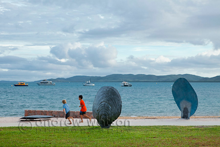 Pearl shell artworks on the Victoria Parade foreshore.   Thursday Island, Torres Strait Islands, Queensland, Australia