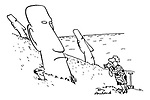 (Tourists on Easter Island with the giant heads. The man is having his photograph taken buried int he hillside with only head showing)