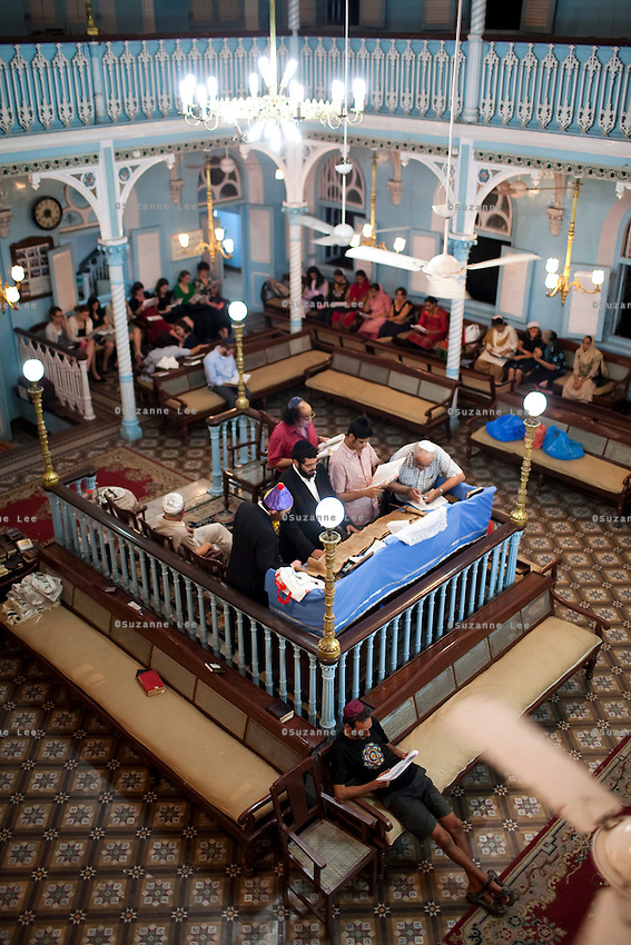 Chabad Mumbai's Yeshivas read the megillah at the Keneseth Eliyahoo synagogue in Mumbai, India. Photo by Suzanne Lee for Chabad Lubavitch