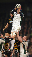 Wycombe, ENGLAND, Exiles Nick Kennedy [white kit] and Wasps Dan Leo jumping in the line out, London Wasps vs London Irish  Guinness Premiership Rugby, at the, Causeway Stadium, © Peter Spurrier/Intersport-images.com,  / Mobile +44 [0] 7973 819 551 / email images@intersport-images.com.
