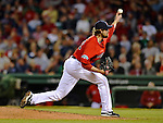 8 June 2012: Boston Red Sox pitcher Andrew Miller in action against the Washington Nationals at Fenway Park in Boston, MA. The Nationals defeated the Red Sox 7-4 in the opening game of their 3-game series. Mandatory Credit: Ed Wolfstein Photo