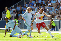 Julio Cesar, Chance myers Sporting KC, Joel Lindpere Red Bulls, watch the ball...Sporting Kansas City defeated New York Red Bulls 2-0 at LIVESTRONG Sporting Park, Kansas City, Kansas.