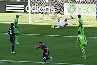 Daniel Cruz (44) of the Philadelphia Union celebrates as his shot beats Seattle Sounders goalkeeper Michael Gspurning (1) during the second half. The Philadelphia Union and the Seattle Sounders played to a 2-2 tie during a Major League Soccer (MLS) match at PPL Park in Chester, PA, on May 4, 2013.