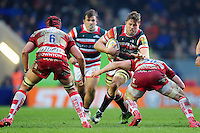 Ed Slater of Leicester Tigers takes on the Gloucester Rugby defence. Aviva Premiership match, between Leicester Tigers and Gloucester Rugby on February 11, 2017 at Welford Road in Leicester, England. Photo by: Patrick Khachfe / JMP