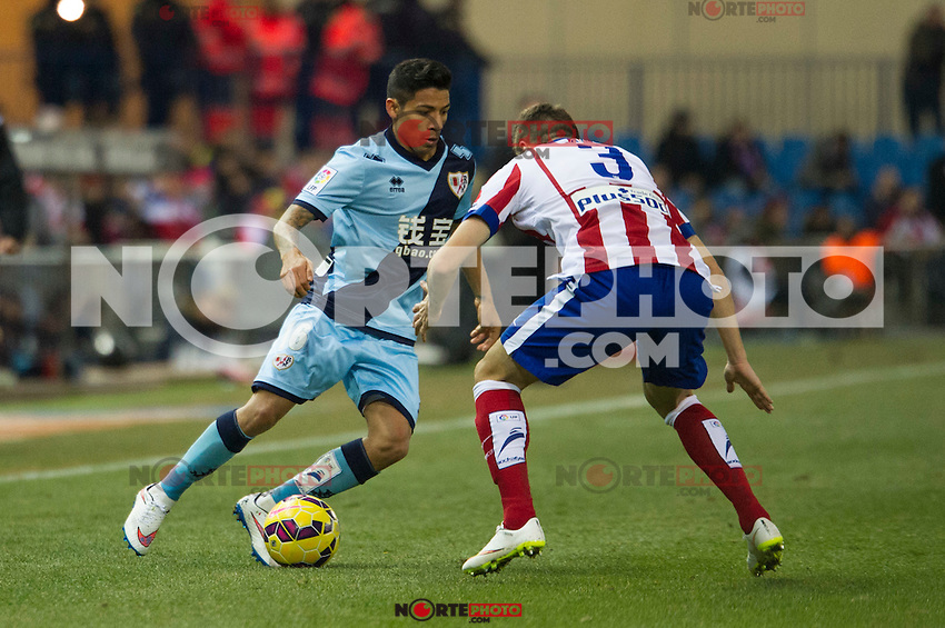 Atletico de Madrid&acute;s Guilherme Siqueira and Rayo Vallecano&acute;s Javier Ignacio Aquino during 2014-15 La Liga match between Atletico de Madrid and Rayo Vallecano at Vicente Calderon stadium in Madrid, Spain. January 24, 2015. (ALTERPHOTOS/Luis Fernandez) /NortePhoto<br />