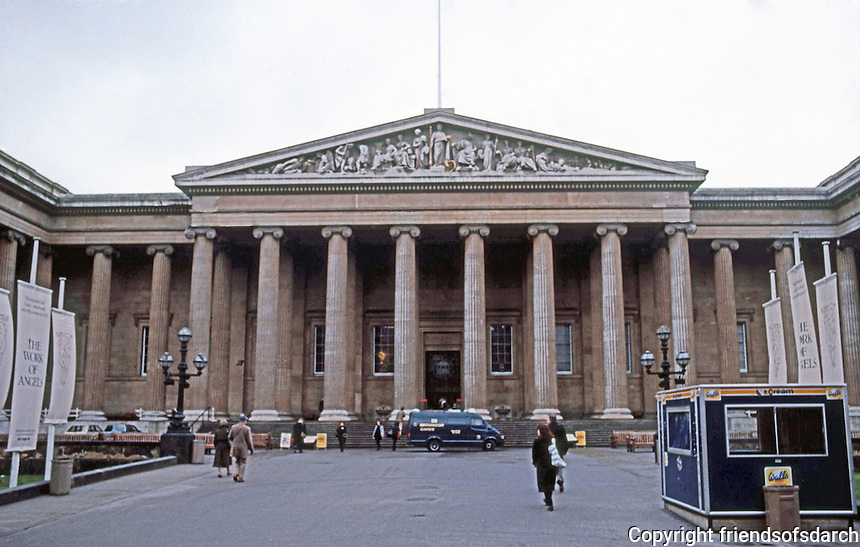 London: British Museum, Facade. Great Russell St. Sir Robert Smirks and others, 1823-47.  Photo '90.