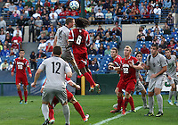 HOOVER, AL - DECEMBER 09, 2012: Femi Hollinger-Janzen (6) of Indiana University up for a header against Cole Seiler (14) of Georgetown University during the NCAA 2012 Men's College Cup championship, at Regions Park, in Hoover , AL, on Sunday, December 09, 2012.