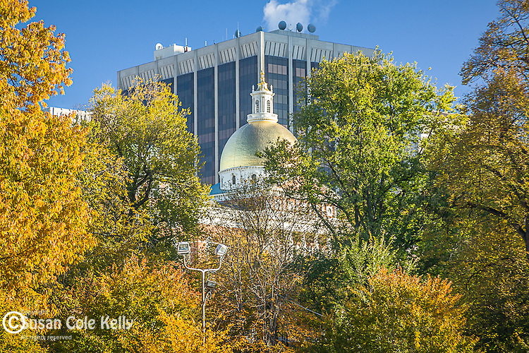 Fall foliage colors the Massachusetts Stata House on Boston Common in Boston, MA