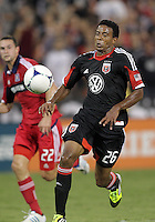 WASHINGTON, DC. - AUGUST 22, 2012:  Lionard Pajoy (26) of DC United in action against the Chicago Fire during an MLS match at RFK Stadium, in Washington DC,  on August 22. United won 4-2.