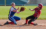 LITCHFIELD,  CT-051717JS12- Wamogo's Danielle Maliszewski (3) safely makes her way to second base after slipping past the tag attempt by Nonnewaug's Heather Abramovich (10) during their Berkshire League match-up Wednesday at Wamogo High School in Litchfield. <br /> Jim Shannon Republican-American