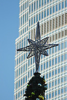 A large star stands atop the public Christmas tree in Central, Hong Kong, with the offices of the International Finance Centre (2IFC) in the background