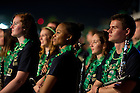 Jan 5, 2013; Members of the Marching Band watch the  performers on stage during the Notre Dame pep rally on South Beach, Miami. Notre Dame will be squaring off against the Alabama Crimson Tide in the 2013 BCS National Championship Monday night. Photo by Barbara Johnston/University of Notre Dame..