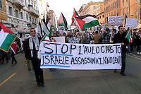 Roma 17 Gennaio 2009.Manifestazione  Contro l'attacco di Israele alla striscia di Gaza..Demonstration against the attack of Israel to the Gaza Strip.The banner reads: Stop Holocaust, Israel murders innocent.