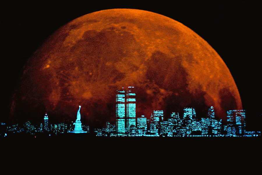 Moonrise over Manahattan,  New York CIty, New York