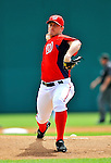 7 March 2012: Washington Nationals starting pitcher Jordan Zimmermann takes his initial warm up tosses to face the St. Louis Cardinals at Space Coast Stadium in Viera, Florida. The teams battled to a 3-3 tie in Grapefruit League Spring Training action. Mandatory Credit: Ed Wolfstein Photo