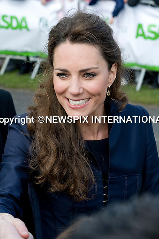 ".MISS CATHERINE MIDDLETON and PRINCE WILLIAM.Prince William and Kate Middleton visited Lancashire on their final public engagements before their wedding in 18 days.The Royal couple visited the Darwen Aldridge Community Academy (DACA) followed by a visit to Witton Country Park to view activities that took place to highlight the importance of outdoor recreational spaces.Miss Middleton was invited to start a 100m race and presented the winner with a medal.The Royal couple also took time to walk about and meet the crowds that had waited through torrential weather conditions. As the Couple carried out their duties the skies cleared and the Sun shone though. Darwen_11/04/2011.Mandatory Credit Photo: ©Alexander Dias/NEWSPIX INTERNATIONAL..**ALL FEES PAYABLE TO: ""NEWSPIX INTERNATIONAL""**..IMMEDIATE CONFIRMATION OF USAGE REQUIRED:.Newspix International, 31 Chinnery Hill, Bishop's Stortford, ENGLAND CM23 3PS.Tel:+441279 324672  ; Fax: +441279656877.Mobile:  07775681153.e-mail: info@newspixinternational.co.uk"