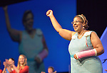 Yvette Richards, president of the United Methodist Women Board of Directors, greets participants at the opening of the United Methodist Women Assembly in Louisville, Kentucky, on April 25, 2014.
