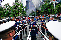 New York, USA. 22nd May, 2014. Members of U.S. Coast Guard Silent Drill Team performs to the national 9-11 memorial during the Fleet Week in New York.  Kena Betancur/VIEWpress