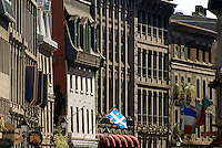 Old French buildings on Rue Saint Paul in Old Montreal, Quebec, Canada