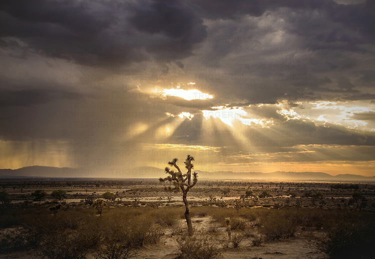 Remote desert location in America with sunlight shinig through clouds