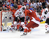 Martin Paryzek (Czech Republic - 6), Cody Hodgson (Canada - 18), ?, Stepan Novotny (Czech Republic - 16), Ryan Ellis (Canada - 8) - Team Canada defeated the Czech Republic 8-1 on the evening of Friday, December 26, 2008, at Scotiabank Place in Kanata (Ottawa), Ontario during the 2009 World Juniors U20 Championship.